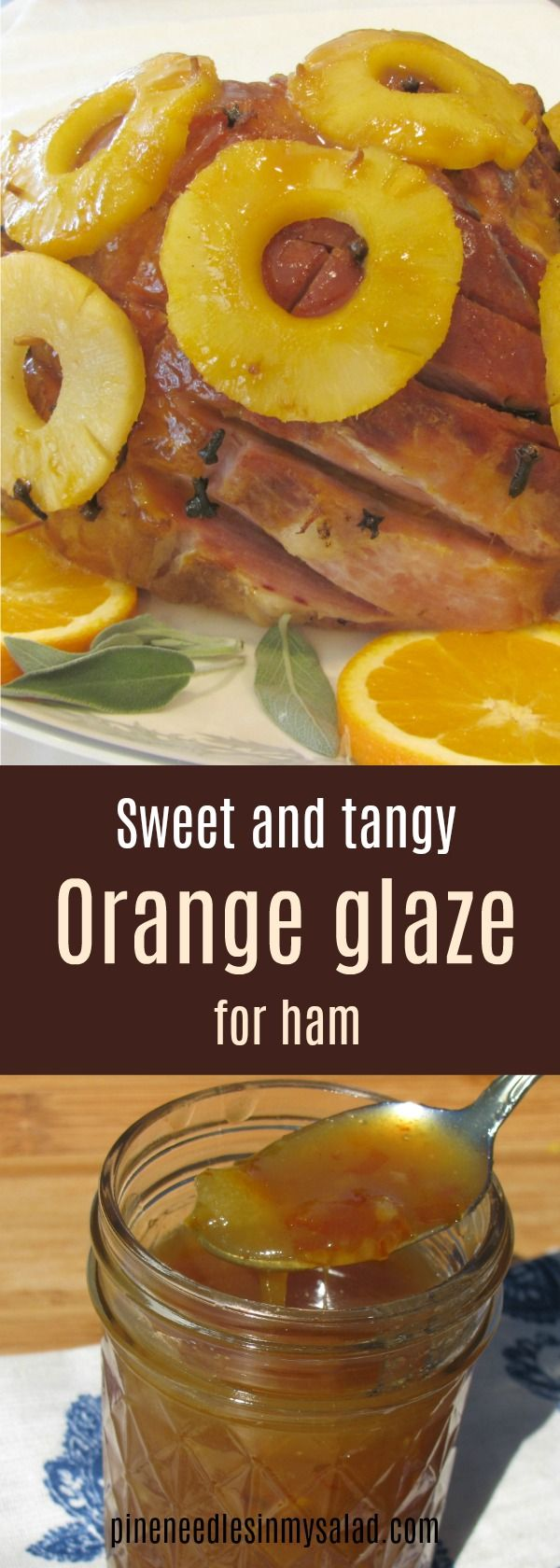 This orange glaze for ham with a hint of bourbon is the perfect flavor combination for a sweet and tangy roast ham. #Easter #ham