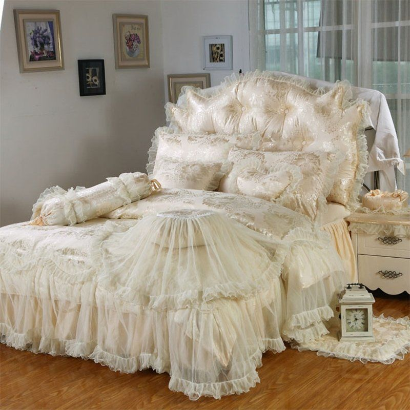 Cream Ruffle Bedding Bedspread Bedroom Sets Ruffle Bedding