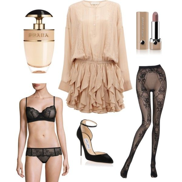 inspired by Blair by allmylovesaskia on Polyvore featuring Faith Connexion, Addiction, Wolford, Jimmy Choo, Marc Jacobs and Prada