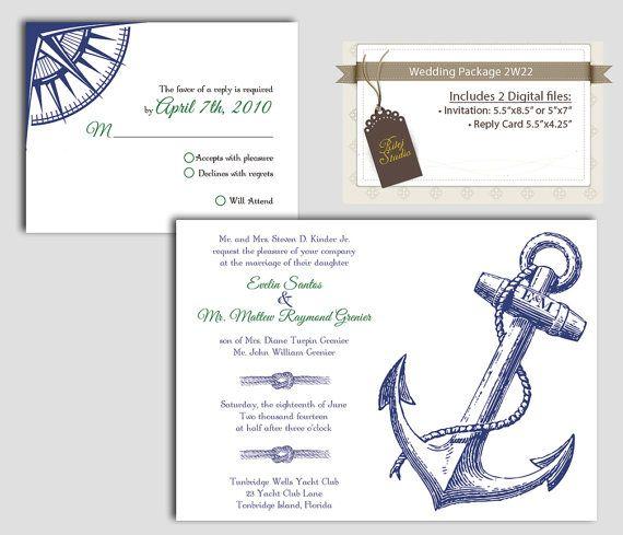 Marine Wedding Invitations: Digital Anchor Marine Wedding Invitation Package, DIY