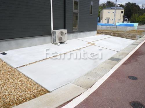 施工例駐車場ガレージ床 土間コンクリート デザイン錆砂利目地 中央