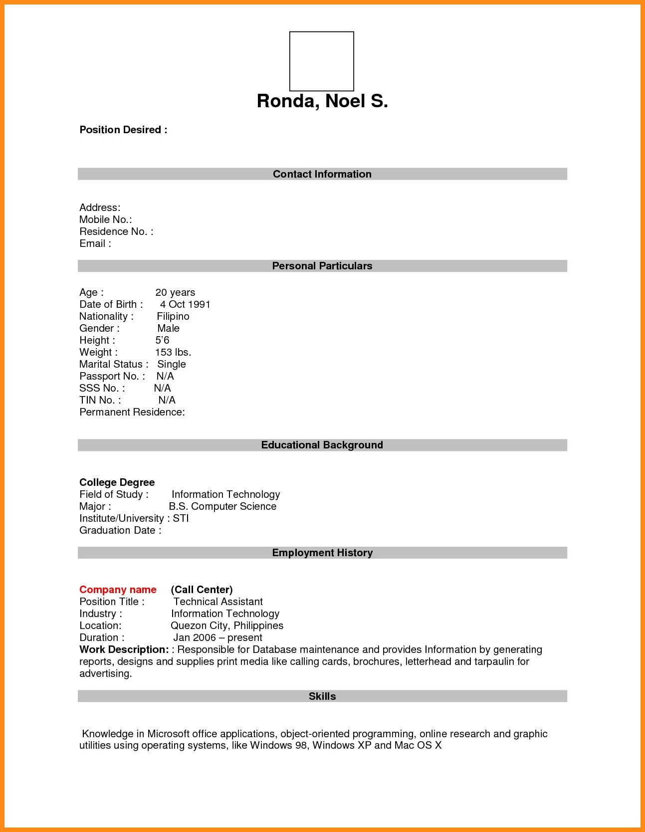 7+ Download Free Resume Form Odr2017 within Free Blank
