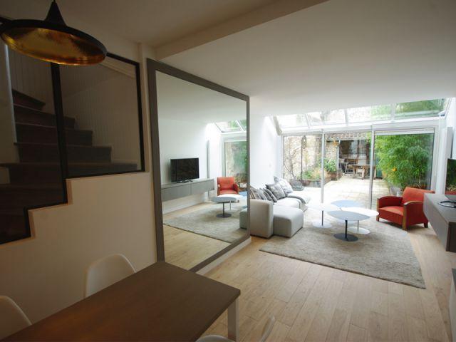un rez de chauss e longitudinal structur par une verri re deco pinterest rez de chauss e. Black Bedroom Furniture Sets. Home Design Ideas