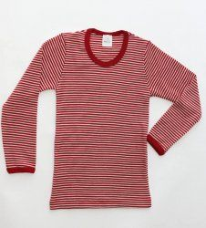 Hocosa Wool Long Sleeved Shirt In Red Stripe Merino Wool For Boys