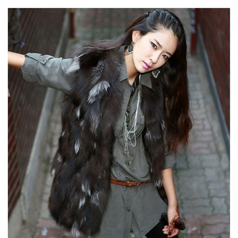 Real Fur Coat Fashion Women Pieces Natural Silver Fox Fur Vest ...