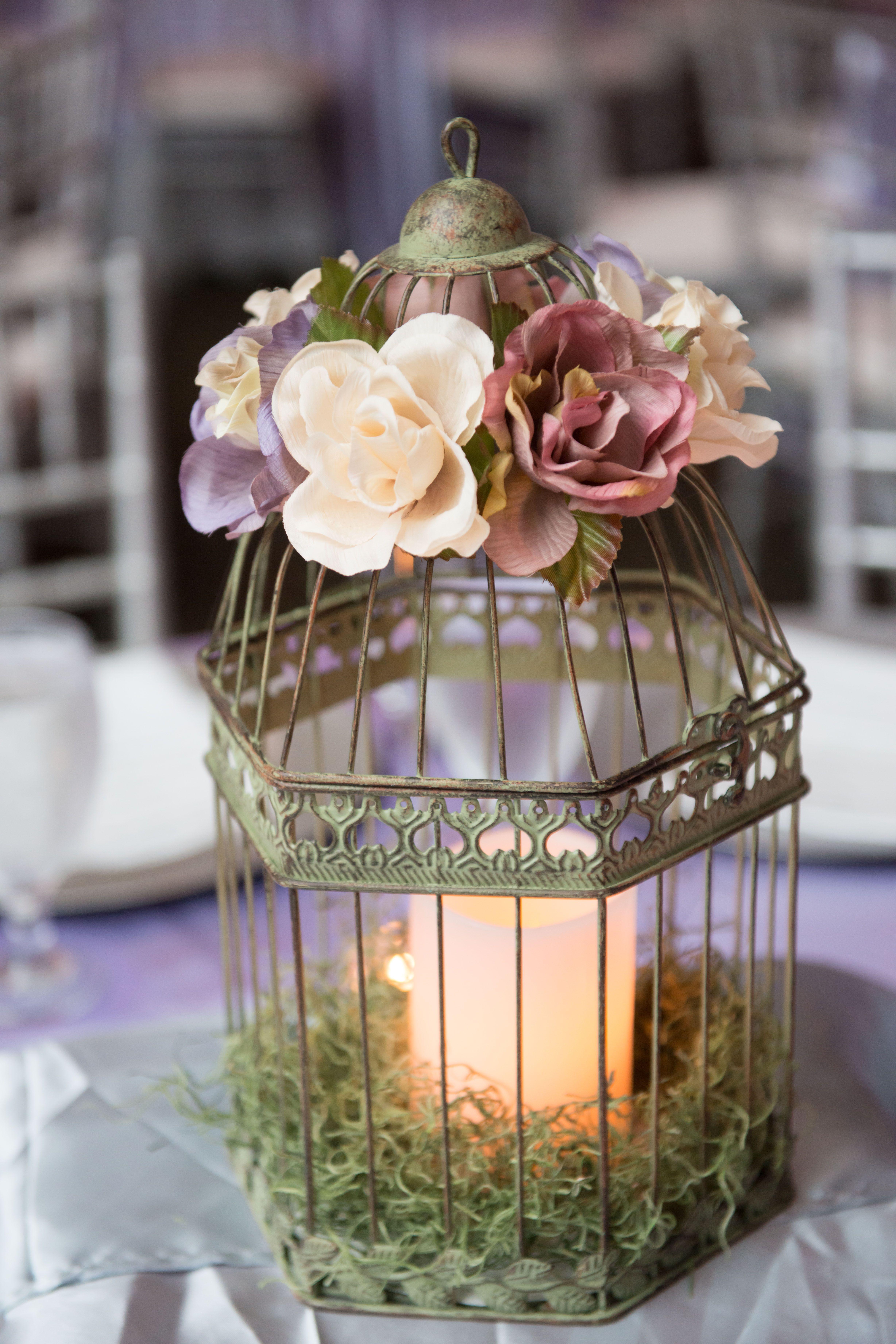 My Diy Wedding Birdcage Centerpieces With Silk Flowers Battery