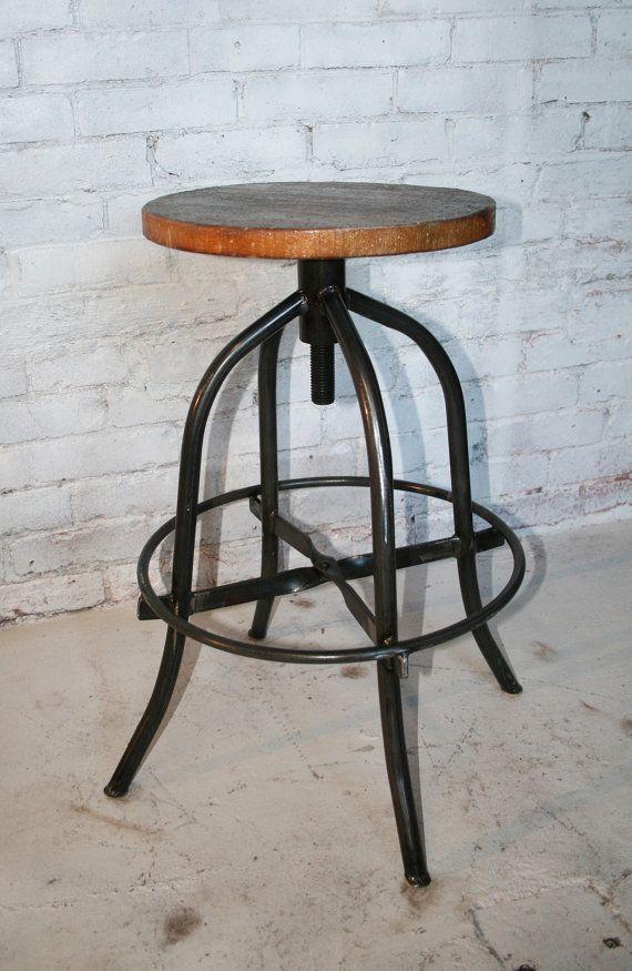 Wood Bar Stool American Industrial Bar Stool By Hammeredintime Rustic Bar Stools Industrial Bar Stools Wood Bar Stools