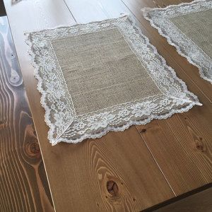Burlap Placemats with WHITE Lace - Country Wedding -Rustic Country Wedding - Farmhouse Decor - Rustic Country Home - French Country Decor #allwhiteparty