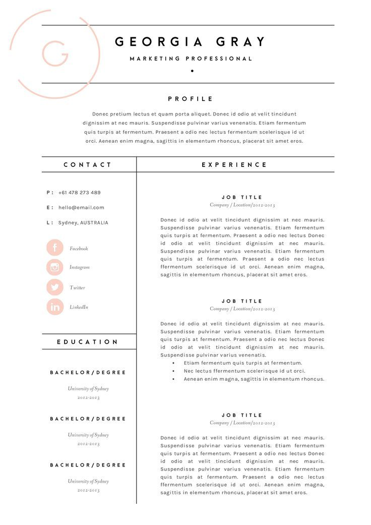 Resume Template 3 Page Cv Template By The Template Depot On Creative Market Creative Cv Depot Market Page Resum Resume Layout Creative Cv Resume Design