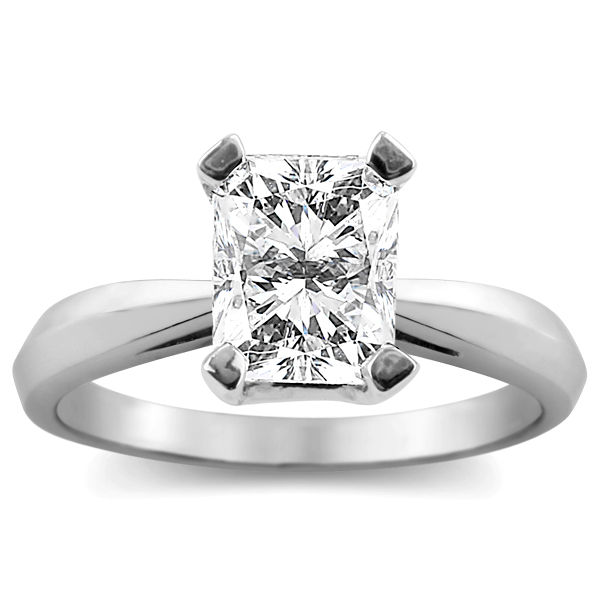2 carat radiant cut diamond solitaire ring (E-VS1 GIA certified) prong set in your choice of 14k white or yellow gold.