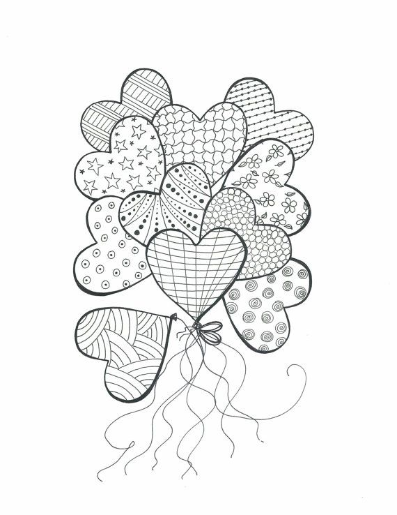 Drawing for Coloring-Bouquet of Heart Balloons-Color In