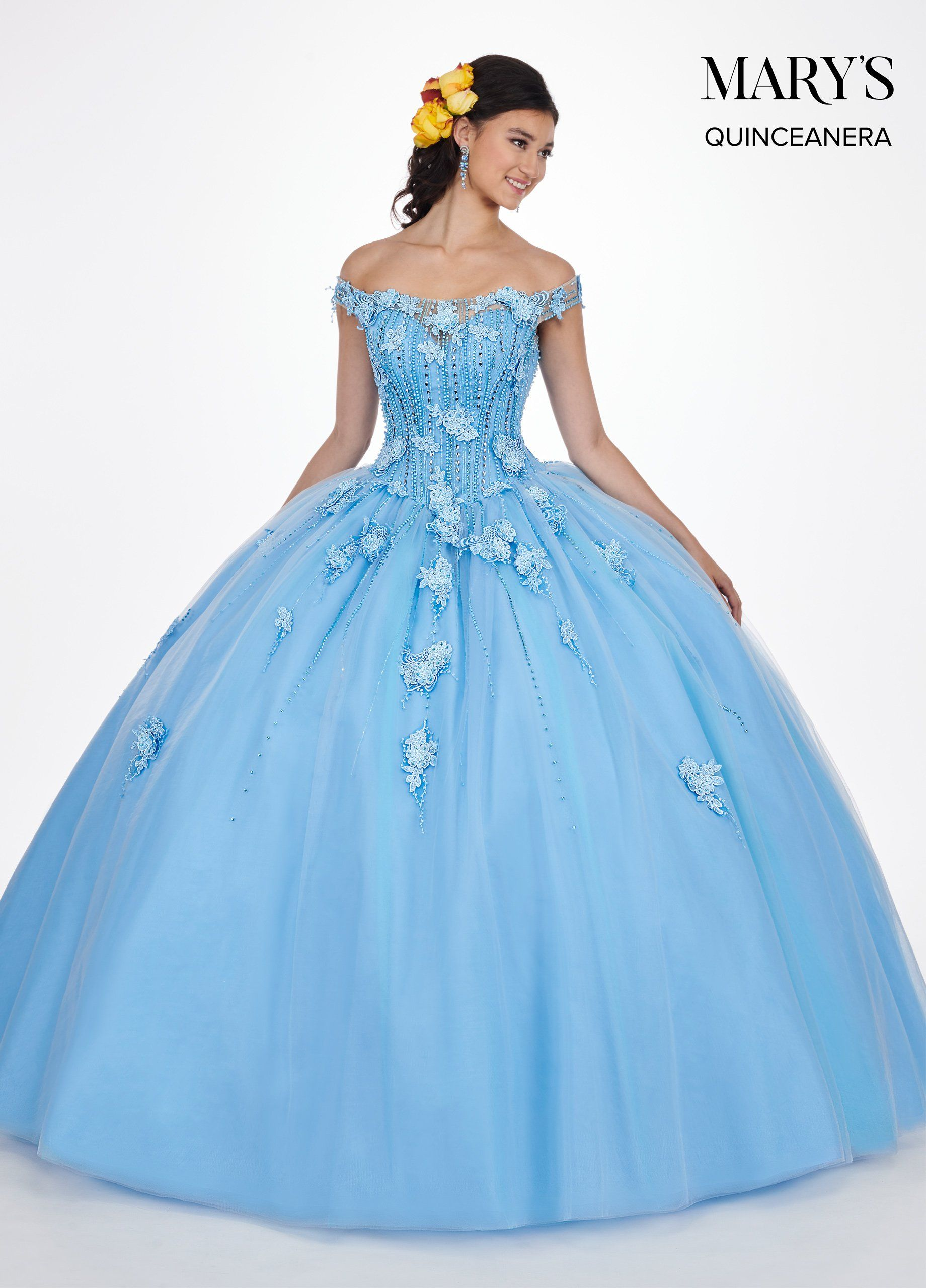 6f2f74506f0 Floral Applique Off the Shoulder Quinceanera Dress by Mary s Bridal MQ2069