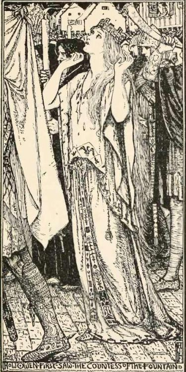 'How Owen First Saw the Countess of the Fountain' (The Lady of the Fountain). Illustration by H. J. Ford from 'The Lilac Fairy Book' edited by Andrew Lang. Published 1910 by Longmans, Green, and Co.Collection opensource archive.org