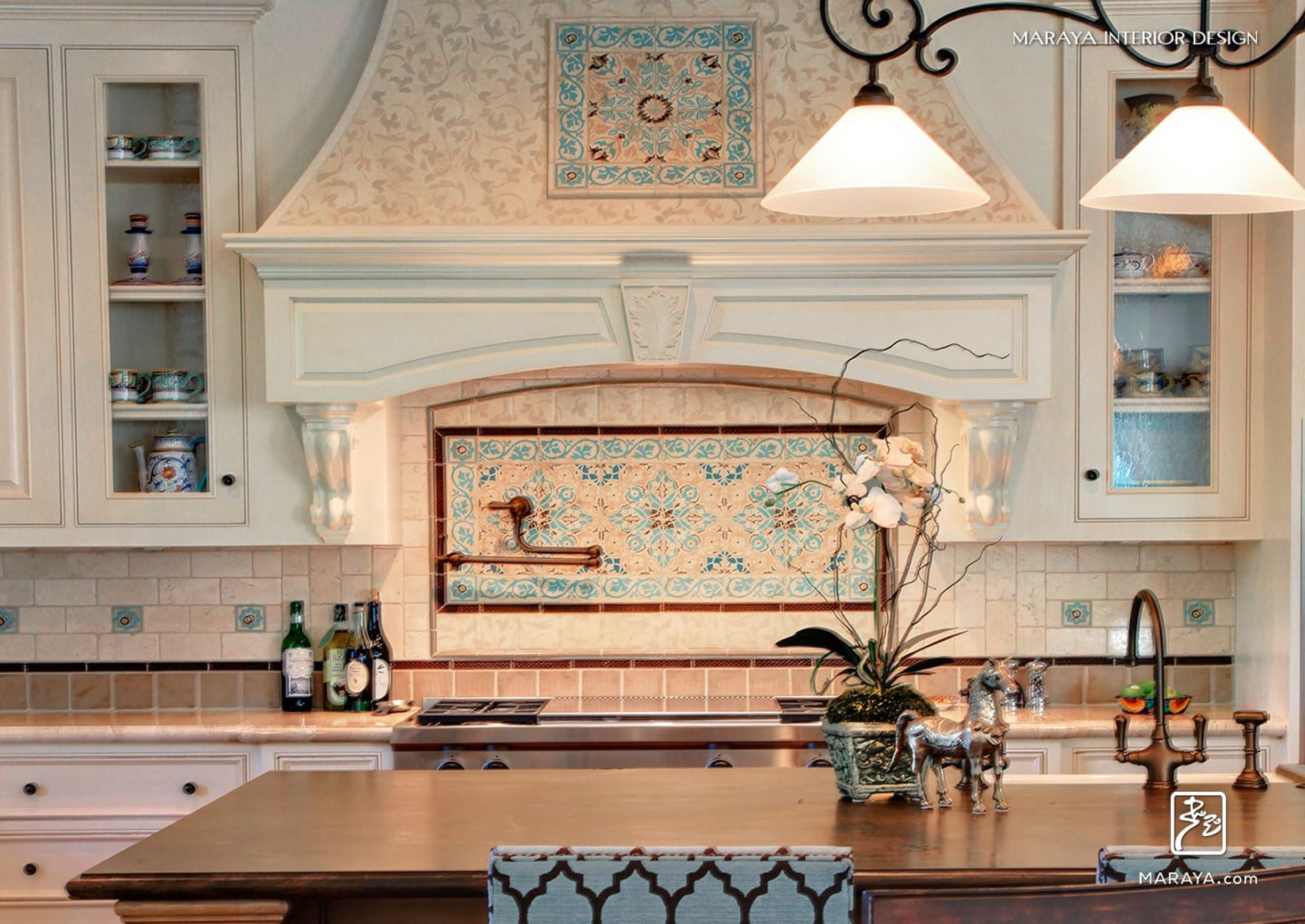 Old Spanish Tile with white painted cabinets in Kitchen white