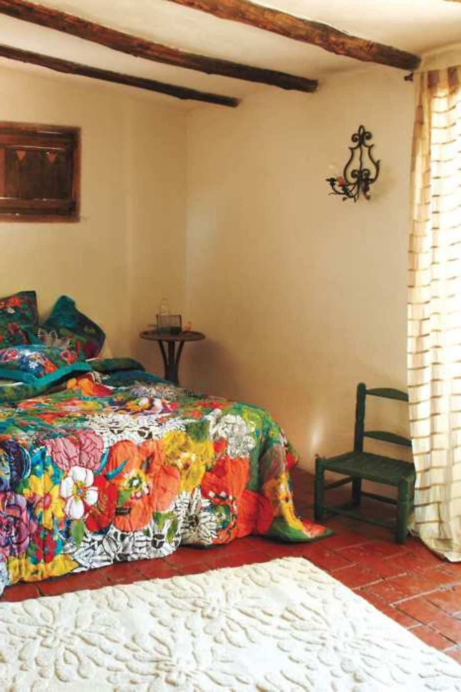 Colorful Southwestern Style Bedroom. LOVE the bedspread