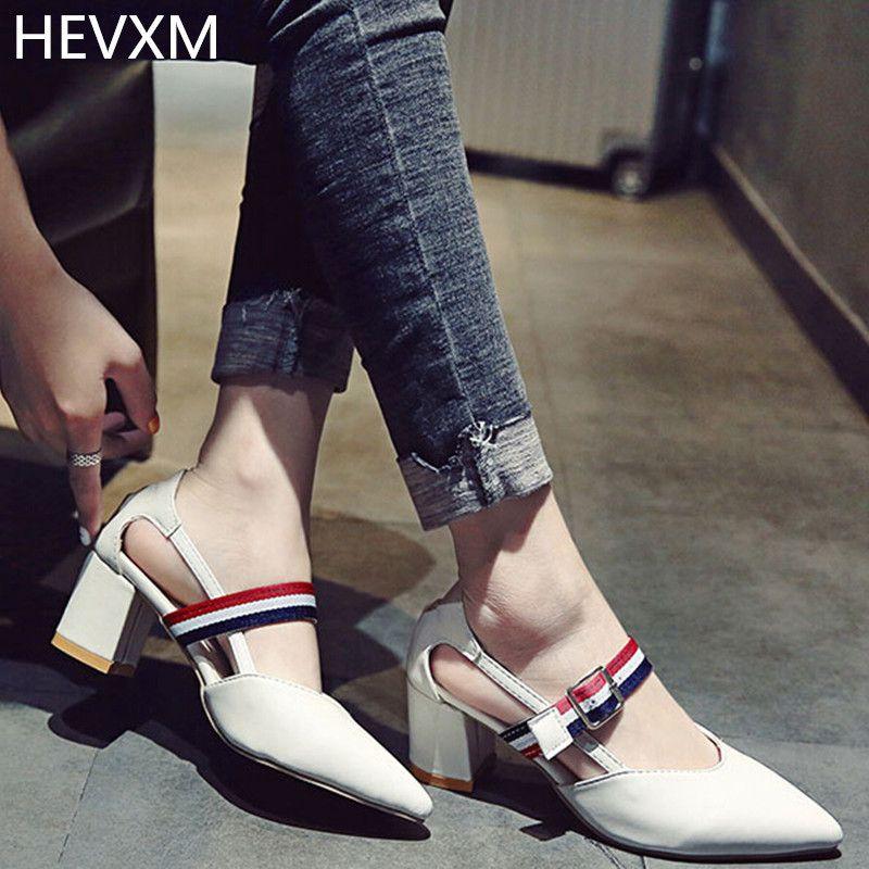 f79234fd03d Fashion · HEVXM 2017 Korean summer ladies fashion solid color square high  heels women s buckle sexy night shop