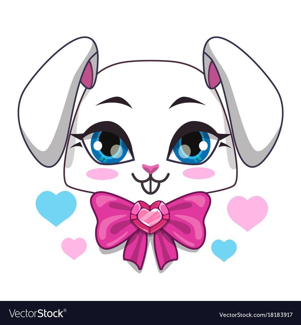 Cute cartoon bunny face vector image on