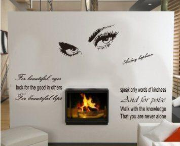 Amazoncom HuhushopTM X Audrey Hepburn Beautiful - Wall stickershuhushopxaudrey hepburn beautiful eyes removable