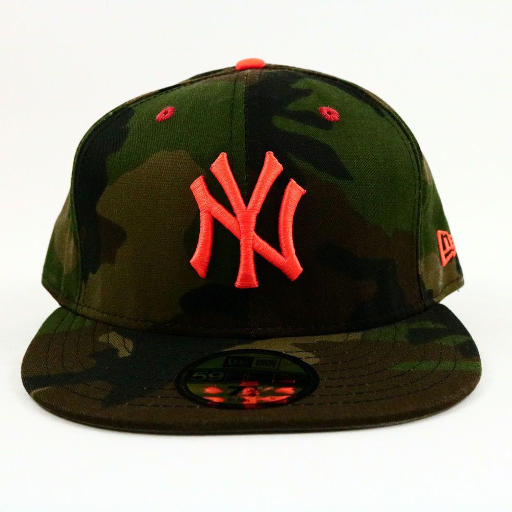 New York Yankees New Era Unisex 5950 Camo Hat Mlb Orange Logo Baseball 7 3 4 Usa Newera Newyorkyankees Orange Logo New York Yankees Camo Hats