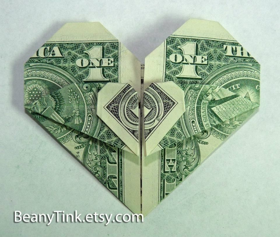 Origami Heart Made Out Of A One Dollar Bill Creativity Of The