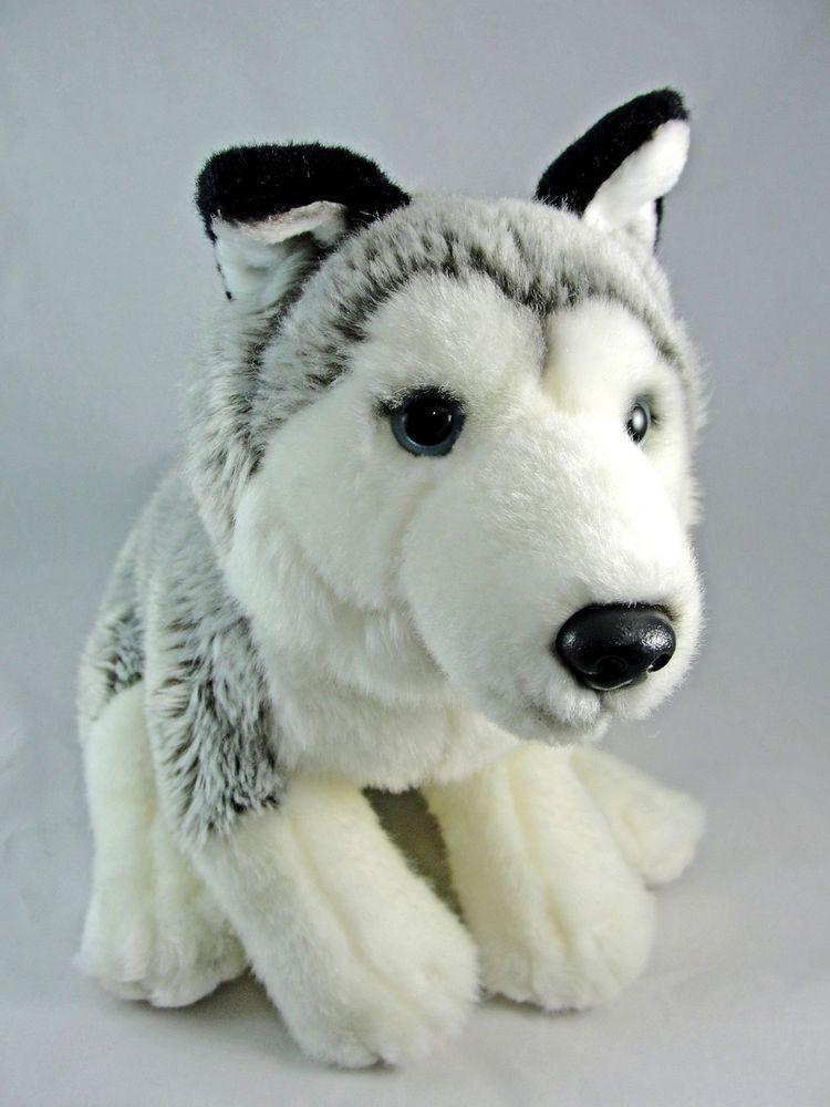 Plush Husky Dog Grey White Black 15 2012 Sold By Toys R Us Euc