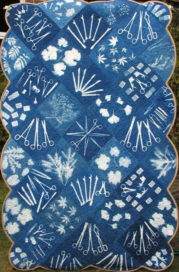 Catherine Corbishley Cell Path Blues 3 Cyanotype On Fabric
