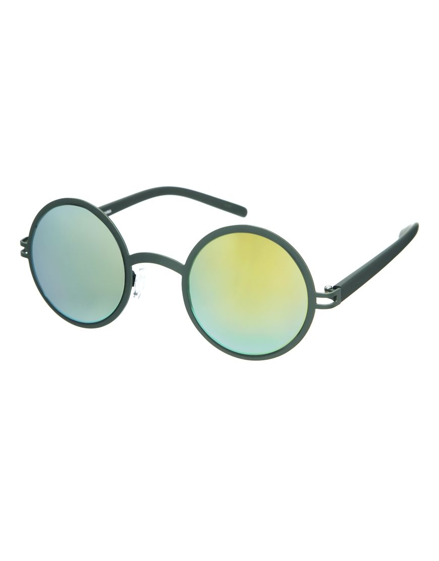 ASOS Metal Round Sunglasses With Flash Lens