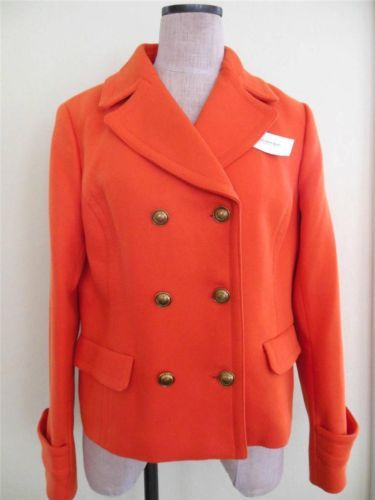Banana Republic L Women $130 NWT Jacket Pea Coat Orange Cotton ...