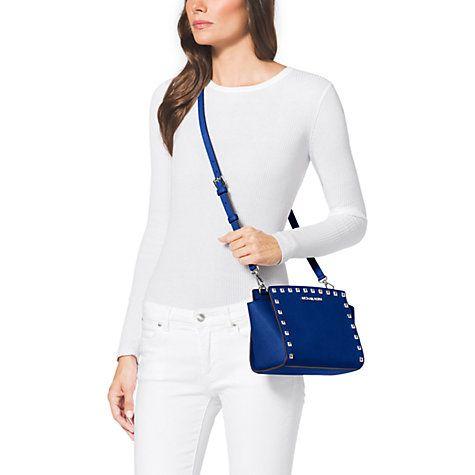 3bd8b1e546d7 Buy MICHAEL Michael Kors Selma Stud Medium Leather Messenger Bag, Blue  Online at johnlewis.com