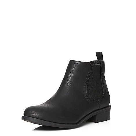 Black leather look flat chelsea boots.