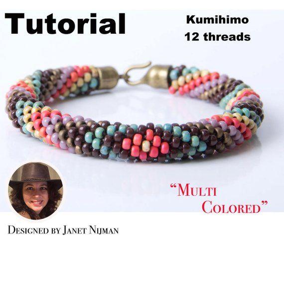 Kumihimo Pattern Tutorial 12 Strands Multicolors Bracelet