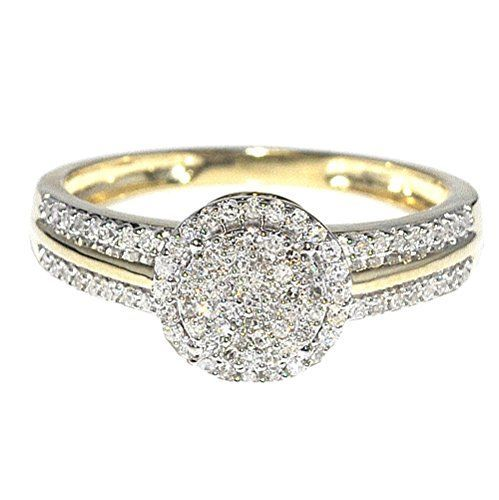ON SALE AT http://jewelrydealsnow.com/?a=B00M9QWXAI - 0.25ct Diamond Engagement Ring Bridal Ring 10K Yellow Gold Halo Style 8mm New