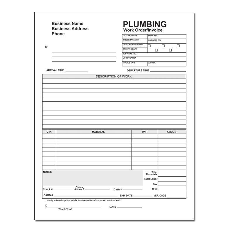 Plumbing Work Order Invoice Plumbing Contractor Plumbing Plumbing Companies