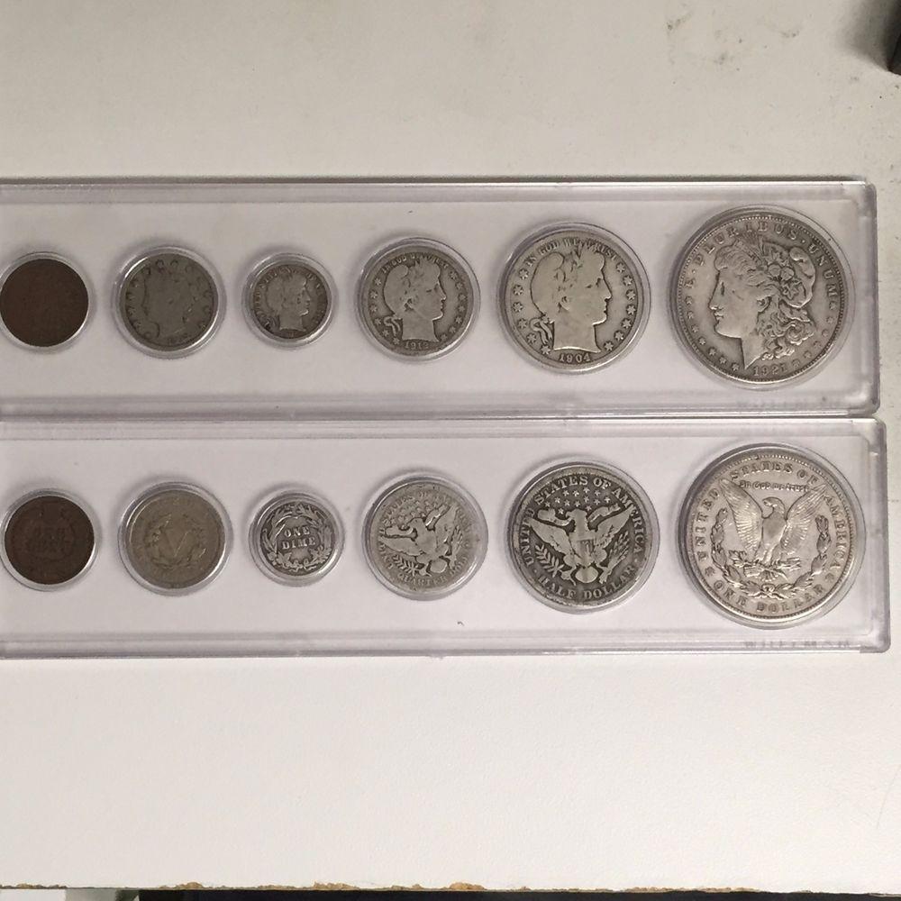 6 Coin Obsolete Set Morgan Barber Half Quarter Dime V Nickel Indian Cent 20 Coins For Sale Coins Nickel