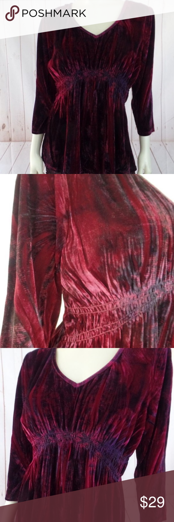 Live and let live top pl red ombre velvet stretch my posh closet