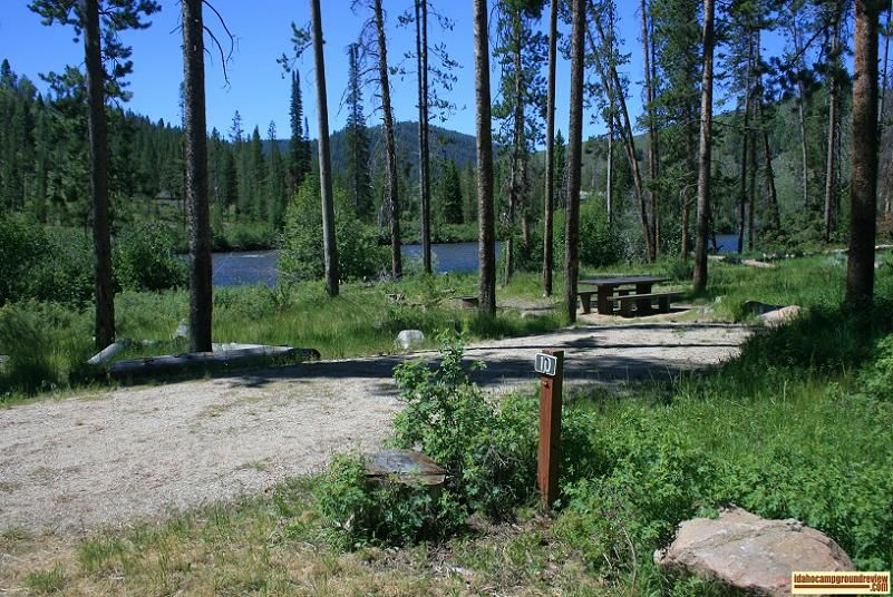 A camp site along the river in Riverside Campground NE of