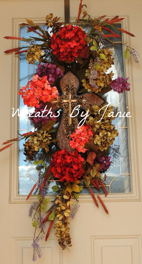 Spring Wreath Spring Door Swag Cross Spring Cross Door Swag Summer Wreath Summer Door Swag Swag Hydrangea Wreat Spring Wreath Spring Door Wreaths