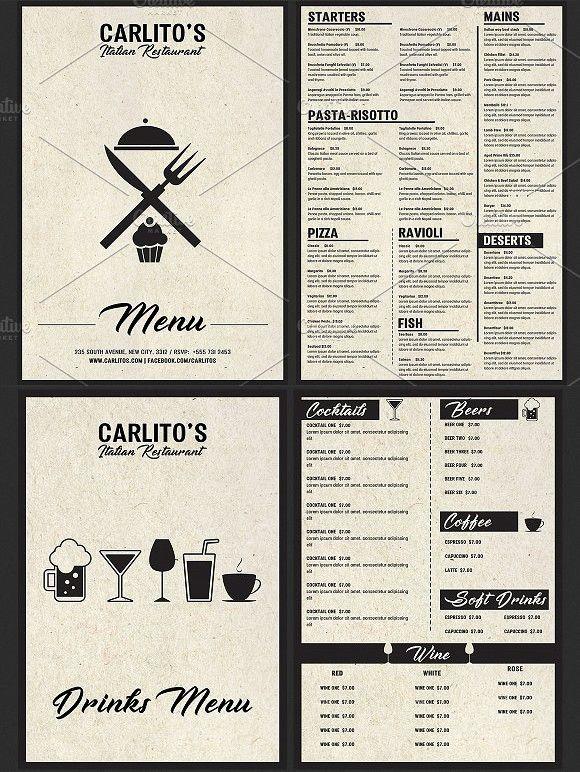 Italian Food Menu Template Menu Design Template Restaurant Menu Design Menu Template