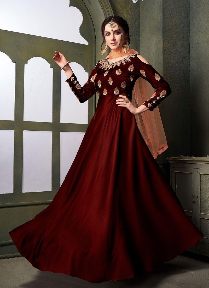 d057ef5c16 Partywear Dark Maroon Color Taffeta Satin Silk Gown Style Suit ...