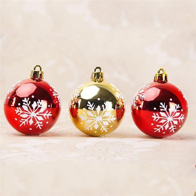 6Pc/Set Snowflake Printed Christmas Balls Big Christmas Tree