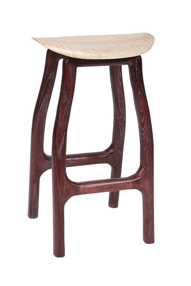 Custom Wood Stool With Curly Maple Seat Ash Framework Has