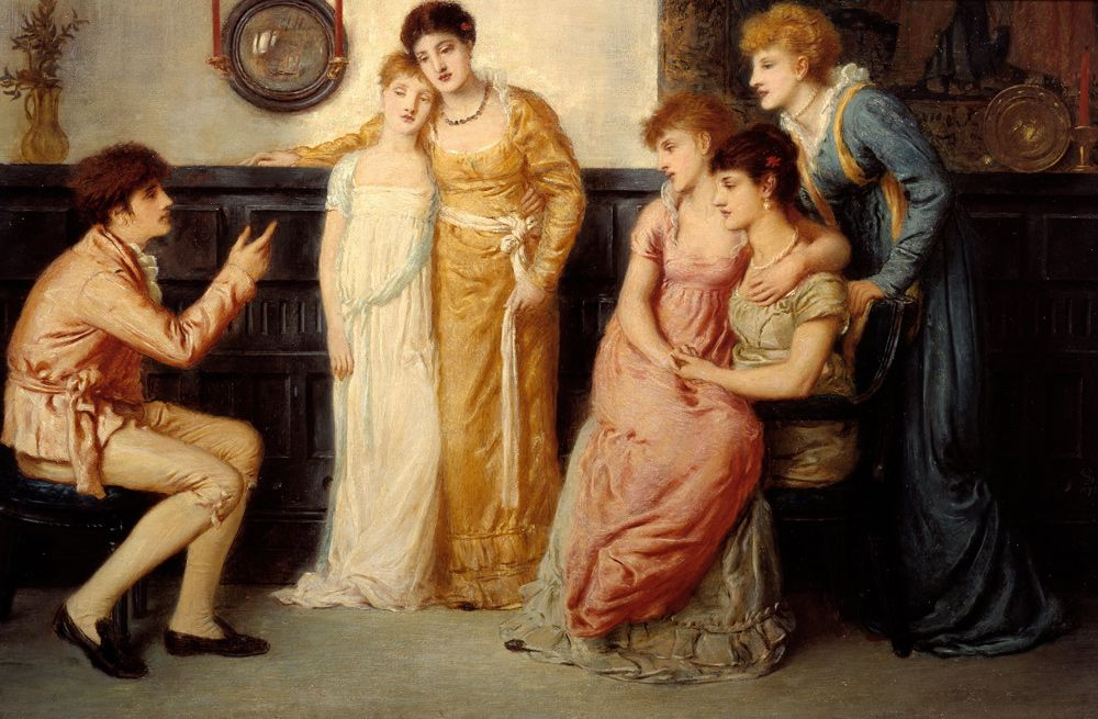 """Simeon Solomon (1840-1905) A Youth Relating Tales to Ladies Oil on Canvas -1873 534 x 355 cm (17' 6.24"""" x 11' 7.76"""")"""
