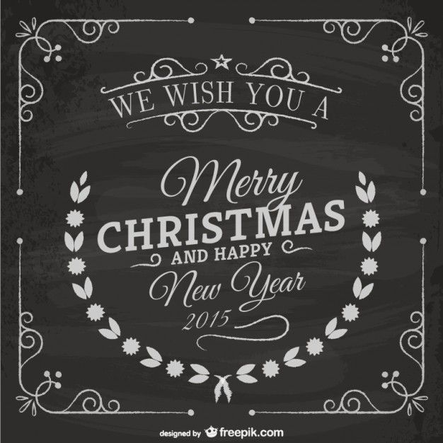 Vintage Christmas Card With Blackboard Texture Free Vector. More Free Vector  Graphics, Www.
