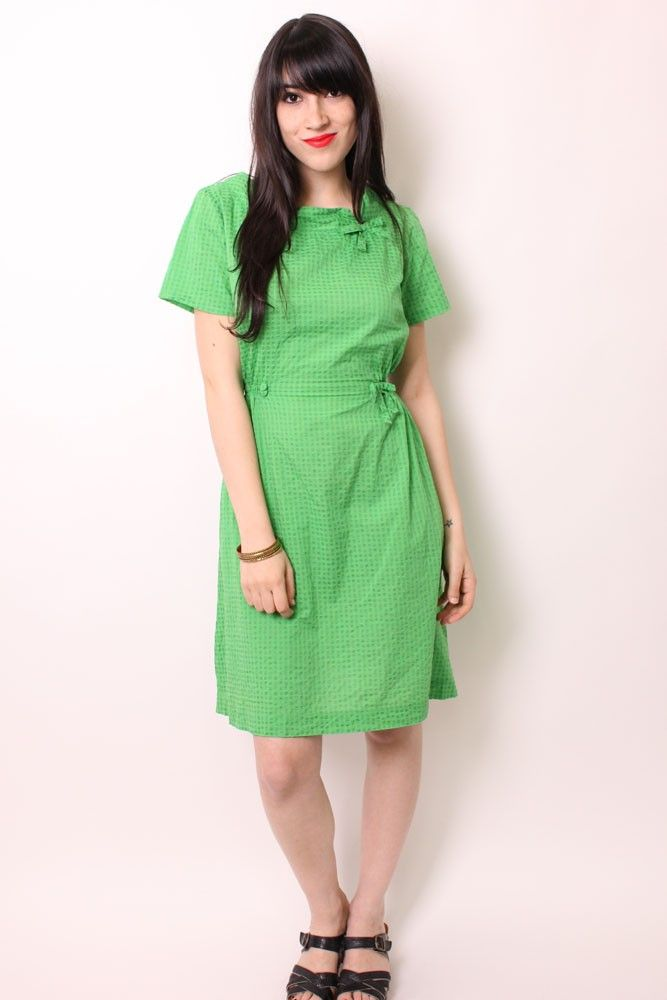 Adorable Green Cotton 50's Dress - 1950's Dresses - Shop Clothing - Dear Gladys | Vintage Dresses & Fashion