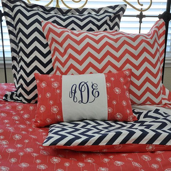 Aqua Coral Grey Chevron Monogram Decorative Pillow ...