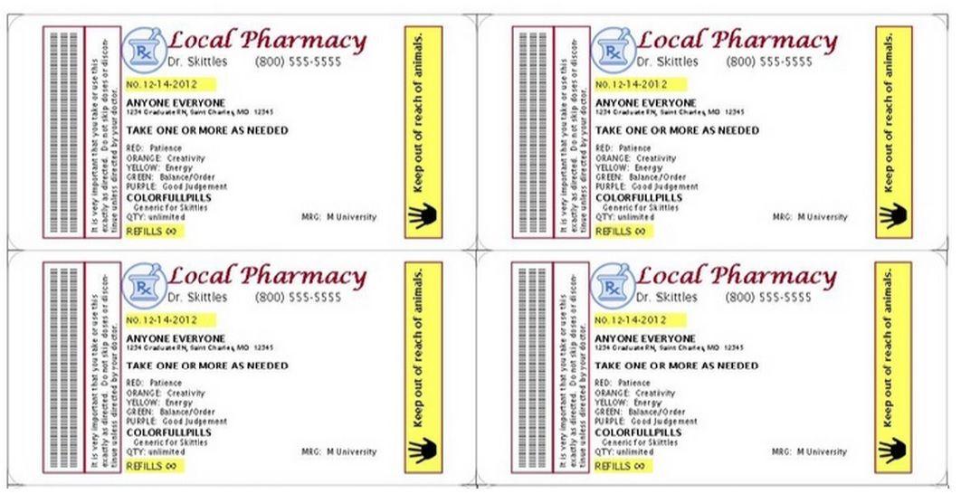 Gag Prescription Label for Skittles ...