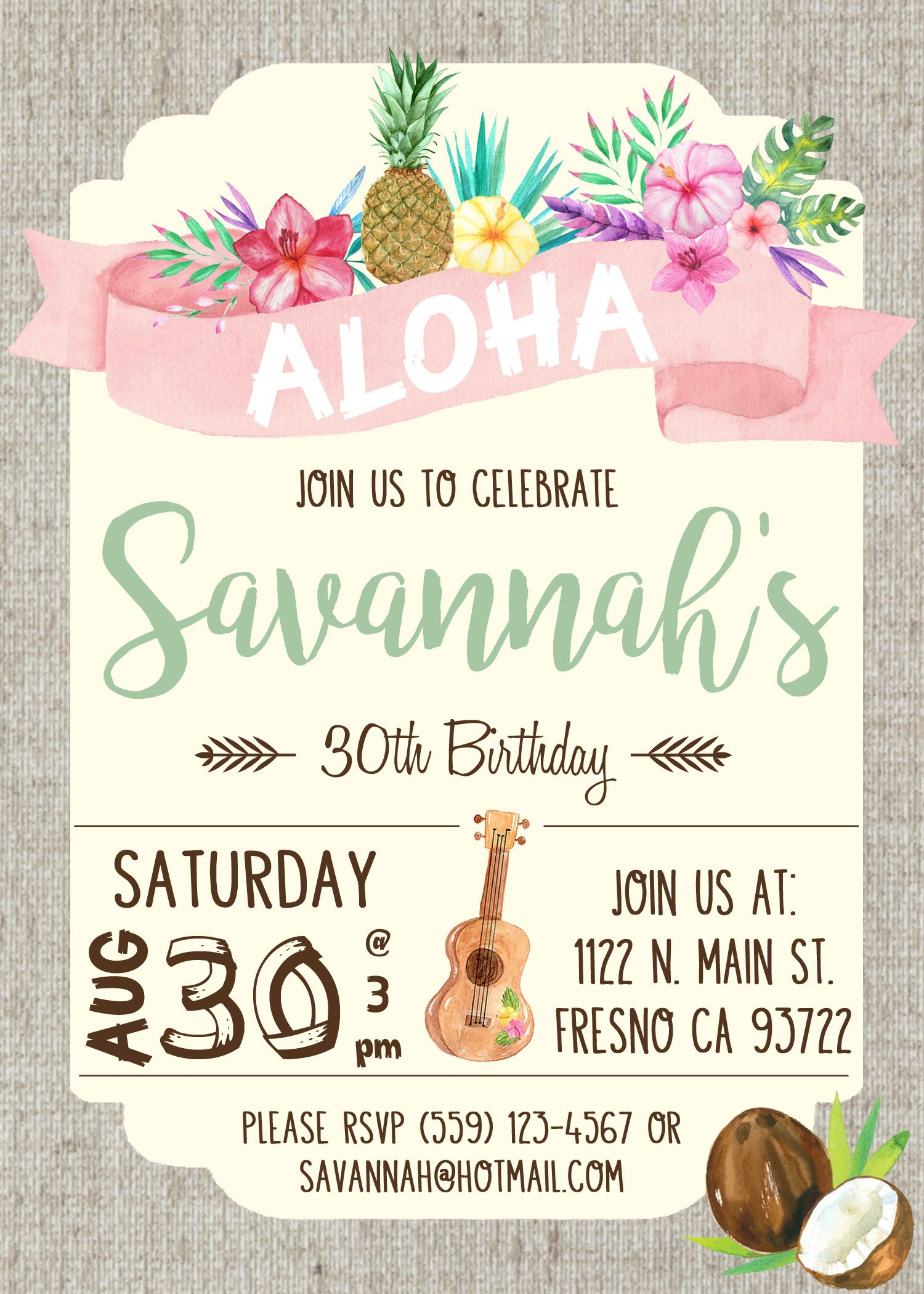 Hawaiian luau birthday party invitation invite watercolor flowers hawaiian luau birthday party invitation invite watercolor flowers shabby chic ukulele pineapple coconut aloha monicamarmolfo Images