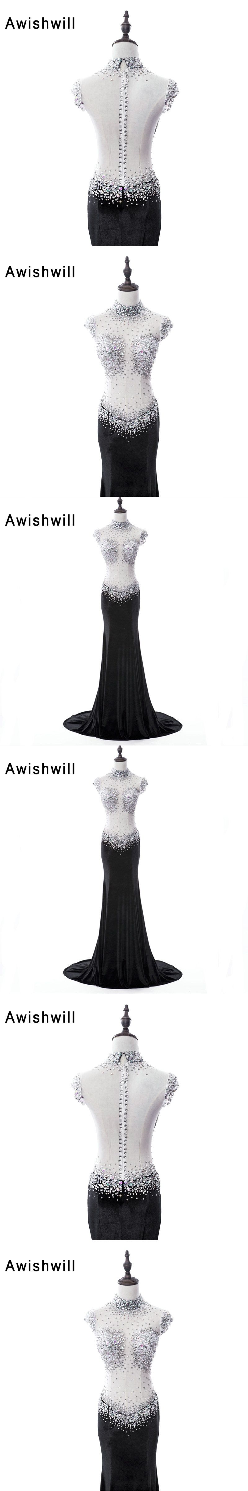Sexy Long Prom Dress See Through Beadings Rhinestones Sheer Back Velvet  Black Party Dress Slim Special db21f58b374c