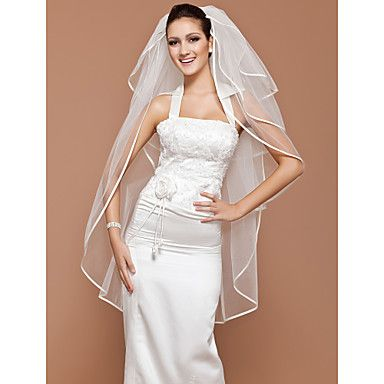 Four-tier Tulle Fingertip Wedding Veil With Ribbon Edge (More Colors Available) – GBP £ 28.10