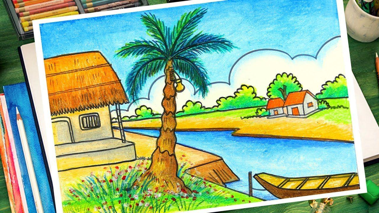100 Easy Village Scenery Drawing Oil Pastel Drawings Village Scene Drawing Oil Pastel Drawings Easy